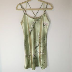Vintage California Dynasty Green Satin Nightgown